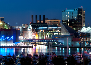 USAP Maryland location showing harbor at night.
